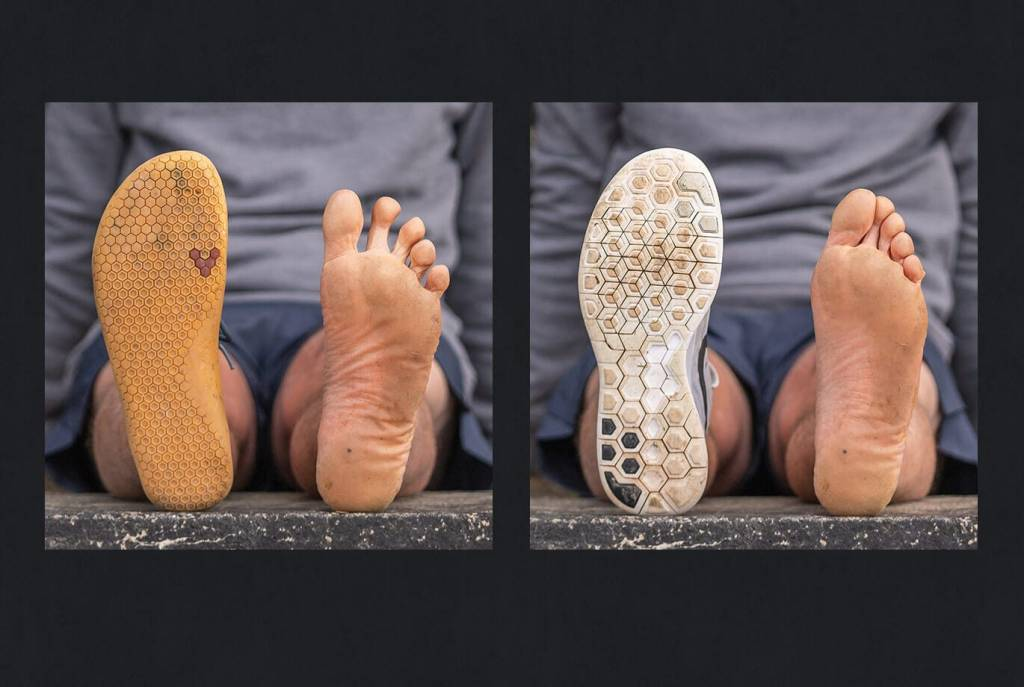 Photo from: https://www.vivobarefoot.com/uk/blog/foot-strength-behind-the-science showing Left: a foot in its natural shape compared to the shape of a Barefoot show and Right: the foot deformities caused by a modern day running shoe.